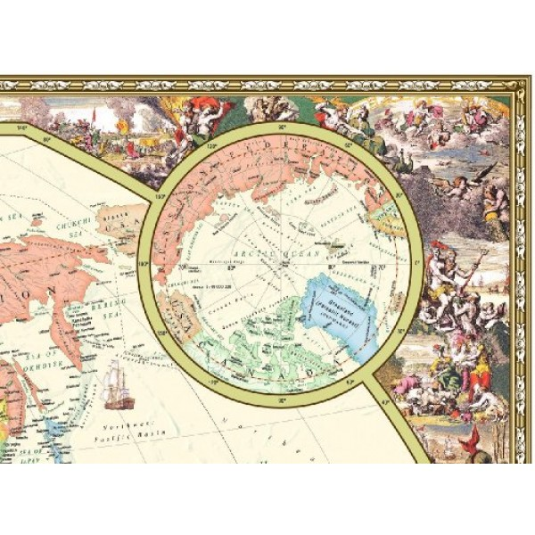 Antique Style World Wall Map Wall Map Laminated Illustrated